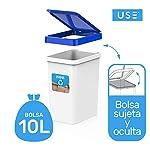 USE-FAMILY-Recycle-Papeleras-Reciclaje-12L-27x20x33-cm-3-Pegatinas-Reciclaje-Apto-Bolsas-10-L-Cubos-basura-ecologico-Plastico-Reciclable-OrganicoPapel-Vidrio-y-Plastico-3-Compartimentos