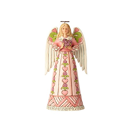 Enesco Jim Shore Heartwood Creek Angel w Heart Cancer Awareness