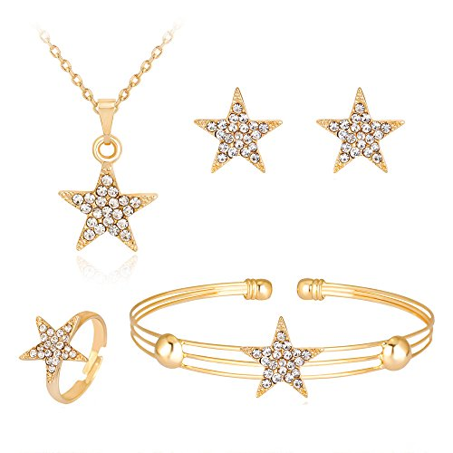 Dcfywl731 Exquisite Gold Crystal Queen Princess Crown Necklace Earring Bangle Ring Jewelry Set for Girls (Star Set)