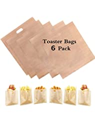 HSIULMY 6 Pack Toaster Bags Reusable, 100% BPA Gluten Free- FDA & LFGB Approved of Premium Quality Teflon Toaster Bags for Grilled Cheese Sandwiches, Chicken, Pizza, Pastries, Panini