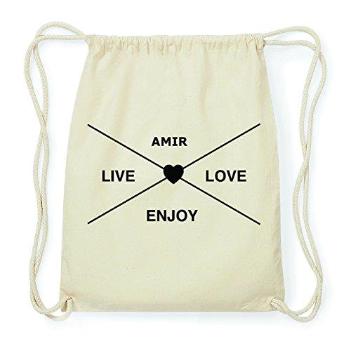 JOllify AMIR Hipster Turnbeutel Tasche Rucksack aus Baumwolle - Farbe: natur Design: Hipster Kreuz