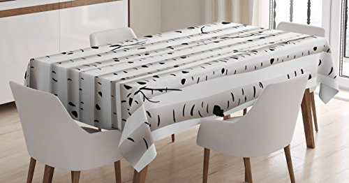 - Ambesonne Birch Tree Tablecloth, Forest Seasonal Nature Woodland Leafless Branches Grove Botany Illustration, Dining Room Kitchen Rectangular Table Cover, 60 W X 84 L inches, Black and White