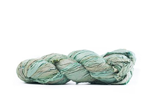 Seafoam Premium Super Bulky Sari Silk Ribbon Yarn | Beautiful Handcrafted Sari Silk Ribbon for Knitting, Crocheting, or Weaving by Darn Good Yarn | 50 Yards, 100 Grams (Knitting Yarn Ribbon)