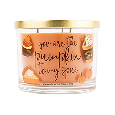 "Aromascape Pumpkin to My Spice, 3-Wick Scented Candle, Orange - Perfect gift idea for a special occasion 11-Ounce 3-wick candle, approximate burn time of 30-40 hours Scented candle with ""You are the Pumpkin to my Spice"" labeled on the side - living-room-decor, living-room, candles - 41fxi0VftXL. SS400  -"