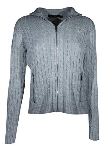 Ralph Lauren Womens Full Zip Cable Knit Crest Sweater (XX-Large, Grey)