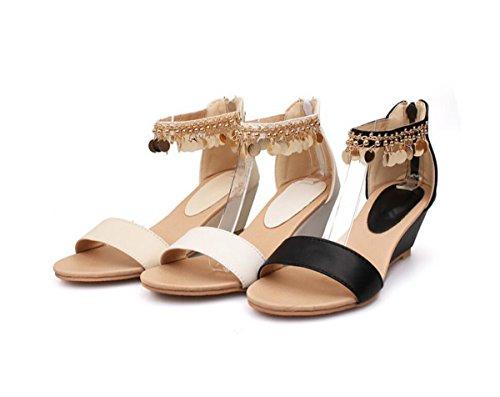 de Zapatillas Mujer Blanco Lentejuelas Metal de Tobillo de borlas Roma de Sandalias Cuña Cuña Sandalias para de Zapatos de 1qWxSSd