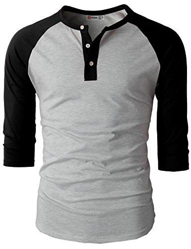 H2H-Mens-Casual-Slim-Fit-Raglan-Baseball-Three-Quarter-Sleeve-Henley-T-Shirts