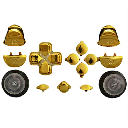 Modfreakz  Button Set Dpad Share Chrome Gold For Ps4 Gen 1 2 V1 Controller