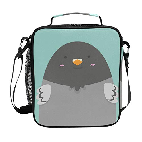 (Premium Insulated Lunch Bag with Shoulder Strap | Cute Big Fat Pigeon Bird Lunch Box for Adults, Kids |Lunch Cooler for Office, School)