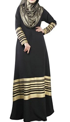 Women's Black Domple Seeve Stripe Maxi Dress Muslim Kaftan Long Arabian Abaya Islam dPOqP