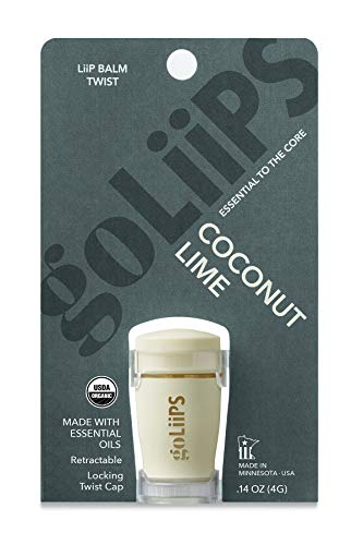 (Organic Lip Balm with Essential Oils Twists by goLiiPS 4 Pack (Coconut Lime))