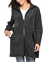 Meaneor Women Casual Hooded Long Sleeve Zip Up Rainproof Windproof Jacket Raincoats