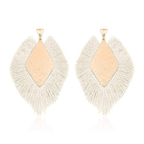 RIAH FASHION Bohemian Silky Thread Tassel Statement Drop Earrings - Strand Fringe Lightweight Feather Shape Dangles/Diamond Fan/Triangle Duster/Leatherette Teardrop (Diamond Fringe Drops - Ivory)