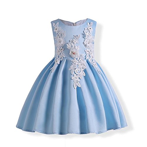 7ef8ab75e21 ZaH Girl Dress Kids Ruffles Lace Party Wedding Dresses(Blue