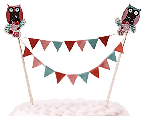 Ginger Ray PO-407 Patchwork Owl Cake Bunting Decoration Party Topper, Mixed, 1