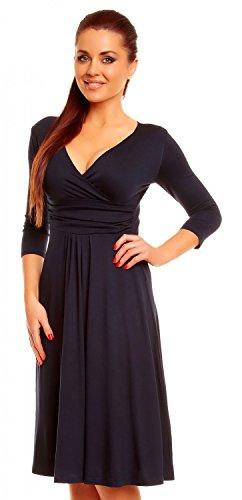 Zeta Villeroy Mujer Borde para interfaz Swing de vestido vestido de verano Cóctel 282z azul marino