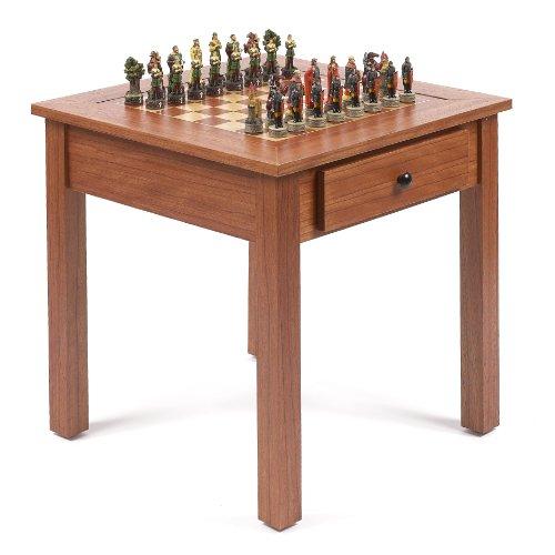 Bello Games New York, Inc. Robin Hood & the Sheriff of Nottingham Chessmen & Lincoln Center Game Table Alabaster Chess Table