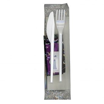 Plastico 252 Vin 5 en 1 envuelto comida unidades Cubertería kit-knife, color blanco