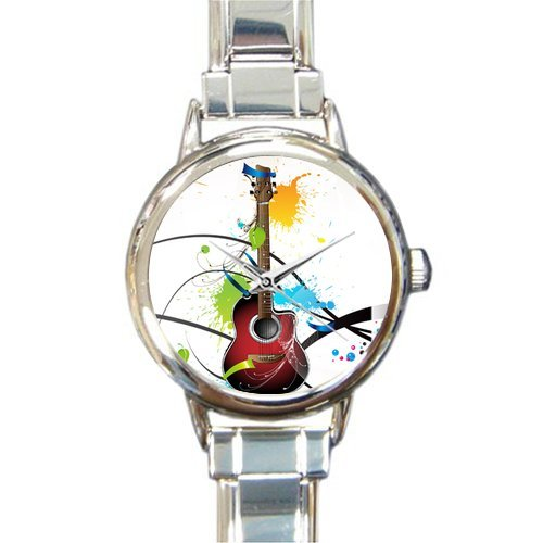 Hot Sale Christmas Day Gift Watch Cool Guitar With Colorful Doodle Around Round Italian Charm stainless steel Watch