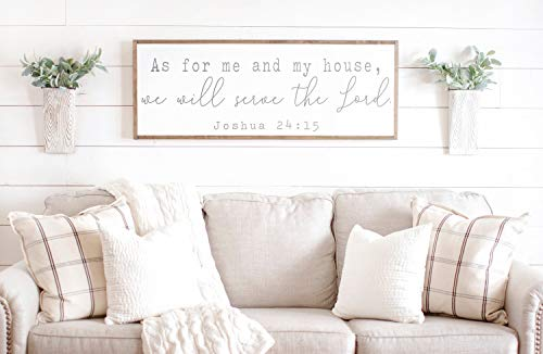 Framed Wood Sign Rustic Wooden Sign As For Me And My House We Will Serve The Lord Christian Wall Sign Christian Signs Bible Verse Sign Joshua 24 15 As For Me And My 6 x 20 Inch Decorative Sign (As For Me And My House Bible Verse)