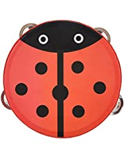 Tambourine Drum Bell, Wooden Handheld Cute Patterns Wood Percussion Instrument, Attractive 15Cm Parties And Kids Games For Sing Or Dance(Beetle)