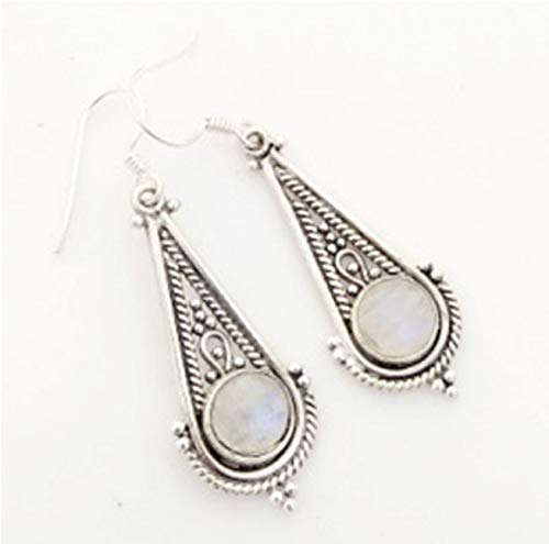 Rainbow Moonstone Solid 925 Sterling Silver Filigree Earrings, Handmade Moonstone Jewelry for Women