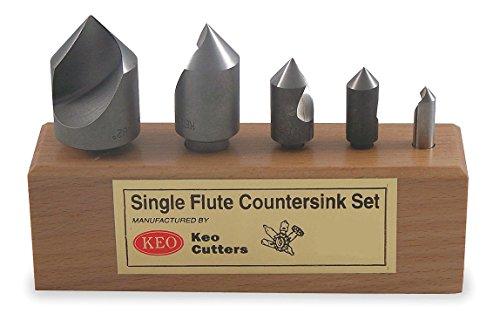 Countersink Set, 5 PC, 1 FL, 82 Deg, HSS by KEO