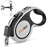 Petacc Retractable Dog Leash, Anti-Bite Heavy Duty Pet Walking Leas 360° Tangle Free, 16' Strong Nylon Tape, One-Handed Brake, Pause, Lock (Large), Grey