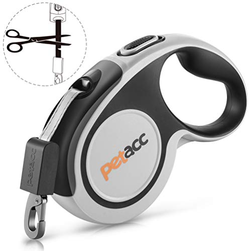 Petacc Retractable Dog Leash, Anti-bite Heavy Duty Pet Walking Leas 360° Tangle Free,16ft Strong Nylon Tape,One-Handed Brake, Pause, Lock