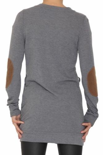 Señoras de las mujeres con cinturón acolchado codo suave gris llano cuello en V Cardigan Top 8 10 12 Gris