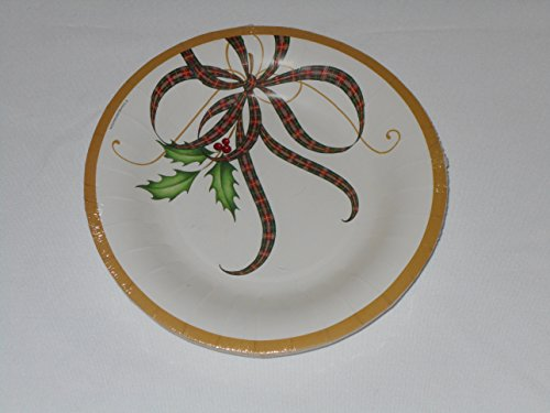Lenox Holiday Nouveau Ribbon Coated Paper Luncheon Dessert Plates 8 (Lenox Holiday Ribbon)