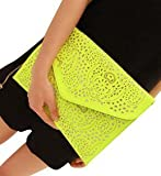 Womens Faux Leather Neon Hollow Flowers Envelope Summer Clutch Purse (yellow)