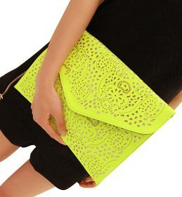 Womens Faux Leather Neon Hollow Flowers Envelope Summer Clutch Purse (yellow) by Acesale