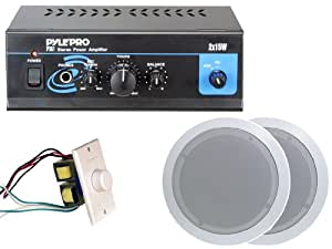 Pyle Home Popular Amplifier/Speaker Package -- PTA1 Mini 2 x 15-Watt Stereo Power Amplifier + PDIC51RD 5.25-Inch 2-Way In-Ceiling Speakers System + Wall Mount Rotary Volume Control Knob