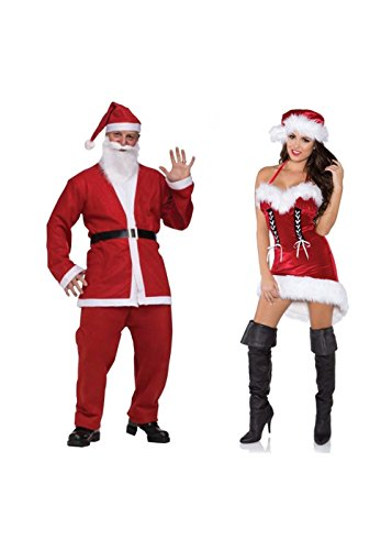 Santa Pub Crawl Men And Sexy Miss Santa Women Couples Costumes (Small) (Santa Pub Crawl)