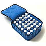 "30-Bottle Essential Oil Carrying Cases hold 5ml, 10ml and 15ml bottles - Royal Blue with Baby Blue interior - 3"" high"