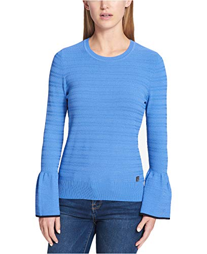 Tommy Hilfiger Womens Bell Sleeves Textured Crewneck Sweater Blue M (Angora Cardigan Sweater)