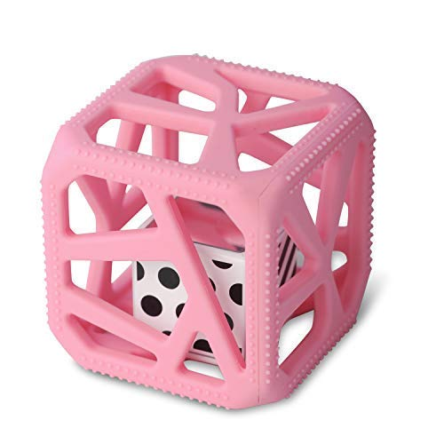 Malarkey Kids Chew Cube - from The Makers of The Munch Mitt - Easy-Grip TEETHER Rattle - Pink