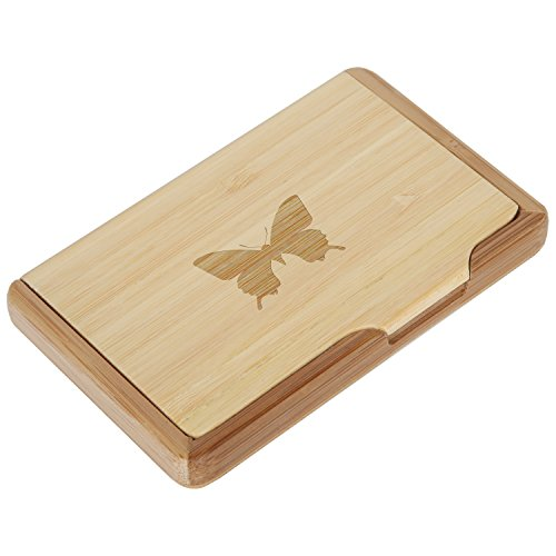 Fibromyalgia Butterfly Bamboo Business Card Holder with Laser Engraved Design - Business Card Keeper - Holds Up to 10 Cards - Lightweight Calling Card Case