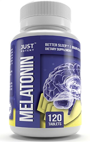 - Pharmaceutical Grade Melatonin Supplement by Just Potent | 5mg Tablets :: Better Sleep | Brain Health | 120 Count | Fast Acting and Non-Habit Forming Sleep Aid