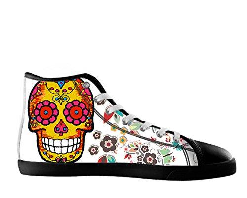 Vrouwen Canvas Hoge Schoenen Dag Van De Dode Ontwerp Suiker Schedel Shoes04