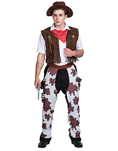 Halloween Men's Western Cowboy Cosplay Costume Xmas Costume Full Sets Dress-up (Vest,Hat,Scarf,Pants Included)