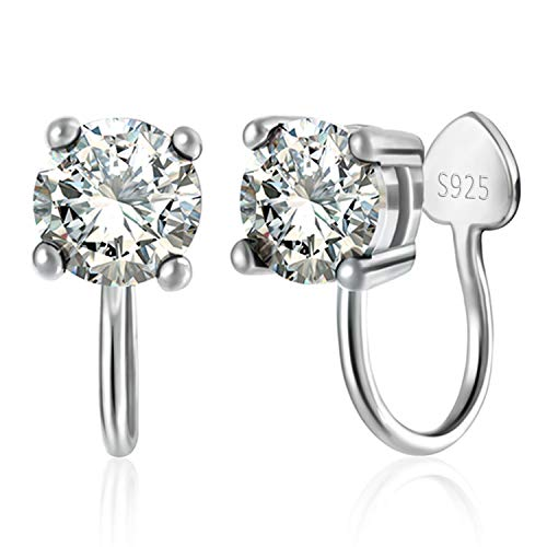 OwMell Clip on Earrings for Women Girls, Platinum Plated Sterling Silver Cubic Zirconia Clip on Stud Earrings Non ()
