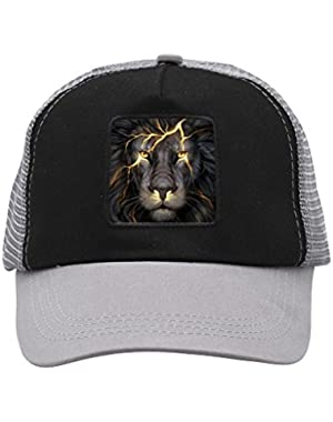 Unisex Golden Wild Lion Trucker Hat Adjustable Mesh Cap