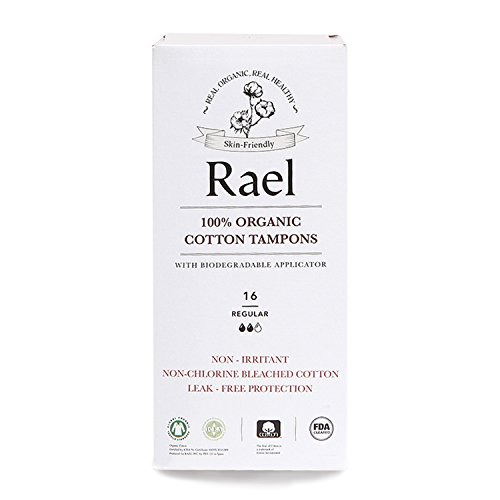 Rael 100% Certified Organic, Non-Chlorine Bleached Tampons with Biodegradable Cardboard Applicator, REGULAR (16 Total) (3 (Certified Organic Tampons Non Applicator)
