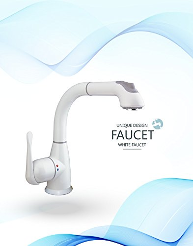 CLEANFLO 8811, Pull Out Kitchen Faucet, 1-3 Hole Installation, High 11.5 INCH-Arc Spout, 1 Handle, 2 Spray Settings, Advanced Polymer Materials, Lead-Free, Non Corrosive, White Finish by CleanFLO (Image #4)