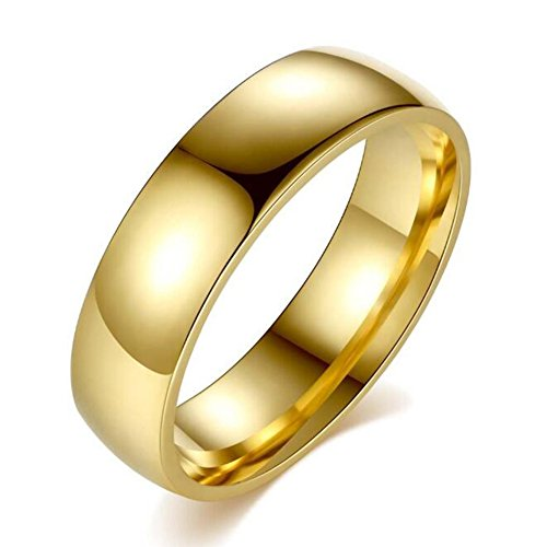 TEMEGO 14k Gold Stackable Rings,Stainless Steel High Polished