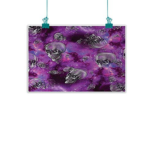 jiangni Skull,Canvas 3D Artwork Horror Movie Thirller Themed Flying Skull Heads Halloween in Outer Space Image W 20
