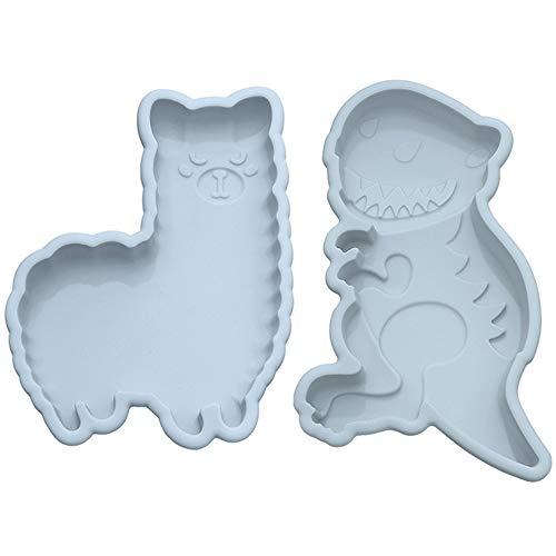 2 stuks Siliconen cakevorm set Alpaca Dinosaurus Bakken Gelaagde Bakvormen Antiaanbaklaag Bakvormen Pan voor DIY Bakvorm…