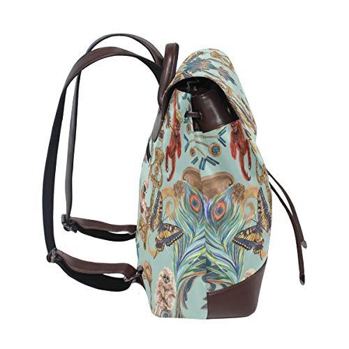 Apor fjärilar påfågel mönster ryggsäck handväska mode PU-läder ryggsäck ledig ryggsäck för kvinnor